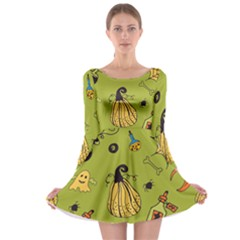 Funny Scary Spooky Halloween Party Design Long Sleeve Skater Dress