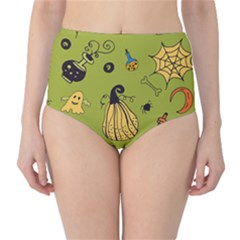 Funny Scary Spooky Halloween Party Design Classic High Waist Bikini Bottoms