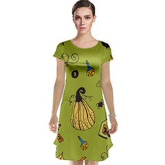 Funny Scary Spooky Halloween Party Design Cap Sleeve Nightdress