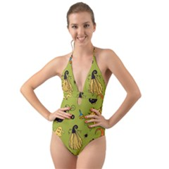 Funny Scary Spooky Halloween Party Design Halter Cut Out One Piece Swimsuit
