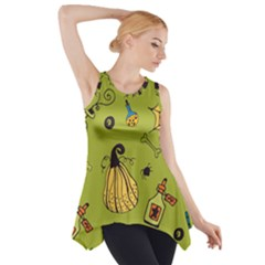 Funny Scary Spooky Halloween Party Design Side Drop Tank Tunic