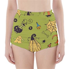Funny Scary Spooky Halloween Party Design High Waisted Bikini Bottoms