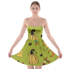 Funny Scary Spooky Halloween Party Design Strapless Bra Top Dress