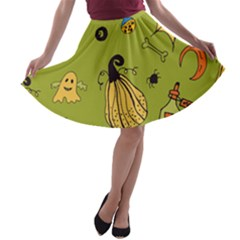 Funny Scary Spooky Halloween Party Design A Line Skater Skirt