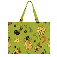 Funny Scary Spooky Halloween Party Design Zipper Large Tote Bag