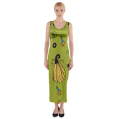 Funny Scary Spooky Halloween Party Design Fitted Maxi Dress