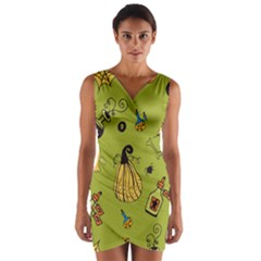 Funny Scary Spooky Halloween Party Design Wrap Front Bodycon Dress