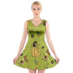 Funny Scary Spooky Halloween Party Design V Neck Sleeveless Dress