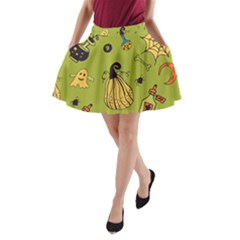 Funny Scary Spooky Halloween Party Design A Line Pocket Skirt
