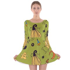 Funny Scary Spooky Halloween Party Design Long Sleeve Velvet Skater Dress