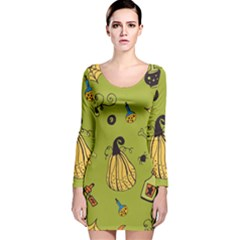 Funny Scary Spooky Halloween Party Design Long Sleeve Velvet Bodycon Dress