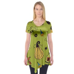 Funny Scary Spooky Halloween Party Design Short Sleeve Tunic