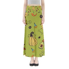 Funny Scary Spooky Halloween Party Design Full Length Maxi Skirt