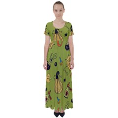 Funny Scary Spooky Halloween Party Design High Waist Short Sleeve Maxi Dress