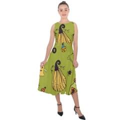 Funny Scary Spooky Halloween Party Design Midi Tie Back Chiffon Dress