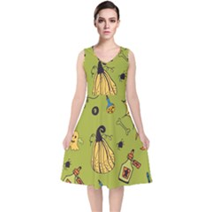 Funny Scary Spooky Halloween Party Design V Neck Midi Sleeveless Dress