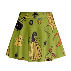 Funny Scary Spooky Halloween Party Design Mini Flare Skirt