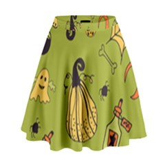 Funny Scary Spooky Halloween Party Design High Waist Skirt