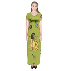 Funny Scary Spooky Halloween Party Design Short Sleeve Maxi Dress