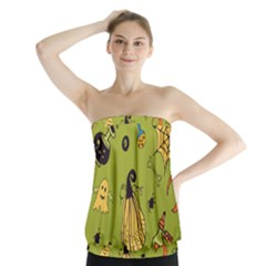 Funny Scary Spooky Halloween Party Design Strapless Top