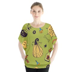 Funny Scary Spooky Halloween Party Design Batwing Chiffon Blouse