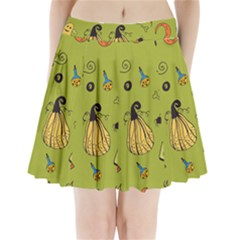 Funny Scary Spooky Halloween Party Design Pleated Mini Skirt