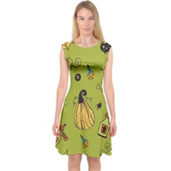 Funny Scary Spooky Halloween Party Design Capsleeve Midi Dress by HalloweenParty