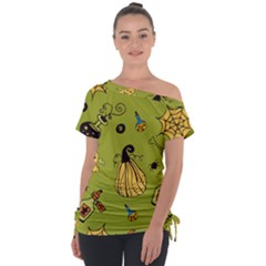 Funny Scary Spooky Halloween Party Design Tie Up Tee