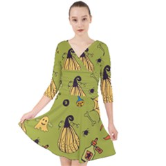 Funny Scary Spooky Halloween Party Design Quarter Sleeve Front Wrap Dress