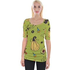 Funny Scary Spooky Halloween Party Design Wide Neckline Tee