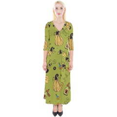 Funny Scary Spooky Halloween Party Design Quarter Sleeve Wrap Maxi Dress