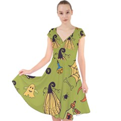Funny Scary Spooky Halloween Party Design Cap Sleeve Front Wrap Midi Dress