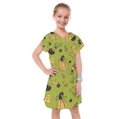 Funny Scary Spooky Halloween Party Design Kids  Drop Waist Dress