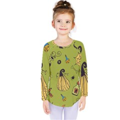 Funny Scary Spooky Halloween Party Design Kids  Long Sleeve Tee