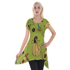 Funny Scary Spooky Halloween Party Design Short Sleeve Side Drop Tunic