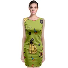 Funny Scary Spooky Halloween Party Design Sleeveless Velvet Midi Dress
