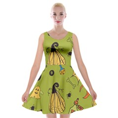 Funny Scary Spooky Halloween Party Design Velvet Skater Dress