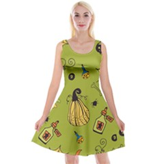 Funny Scary Spooky Halloween Party Design Reversible Velvet Sleeveless Dress
