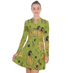 Funny Scary Spooky Halloween Party Design Long Sleeve Panel Dress