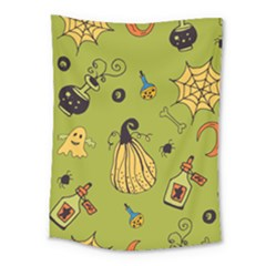 Funny Scary Spooky Halloween Party Design Medium Tapestry