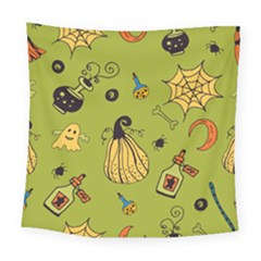 Funny Scary Spooky Halloween Party Design Square Tapestry (large)
