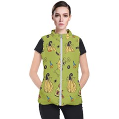 Funny Scary Spooky Halloween Party Design Women s Puffer Vest