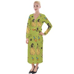 Funny Scary Spooky Halloween Party Design Velvet Maxi Wrap Dress