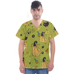 Funny Scary Spooky Halloween Party Design Men s V Neck Scrub Top