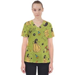 Funny Scary Spooky Halloween Party Design Women s V Neck Scrub Top
