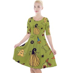 Funny Scary Spooky Halloween Party Design Quarter Sleeve A Line Dress