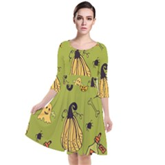 Funny Scary Spooky Halloween Party Design Quarter Sleeve Waist Band Dress