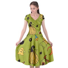 Funny Scary Spooky Halloween Party Design Cap Sleeve Wrap Front Dress