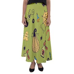 Funny Scary Spooky Halloween Party Design Flared Maxi Skirt