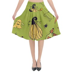 Funny Scary Spooky Halloween Party Design Flared Midi Skirt